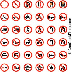 Set of forbidden road signs isolated on white