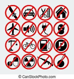 Set Of Forbidden Signs.Vector Illustration