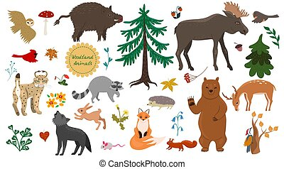 Set of forest animals, birds and plants isolated on a white background. Vector graphics.