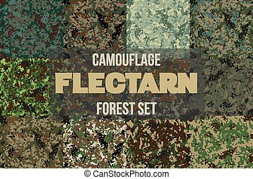 Set of Forest Flectarn Camouflage seamless patterns of...
