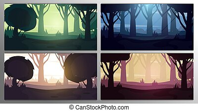 Set of Forest landscape Backgrounds at the different time. Day, Morning, Sunset and Night. Vector Illustration.