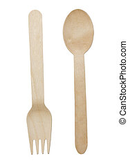 Set of fork and spoon, isolated on white background.