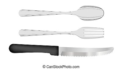 set of fork spoon and knife vector