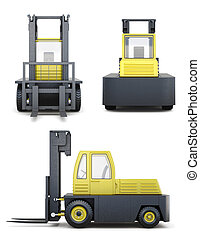 Set of forklift truck isolated on a white background. 3d renderi