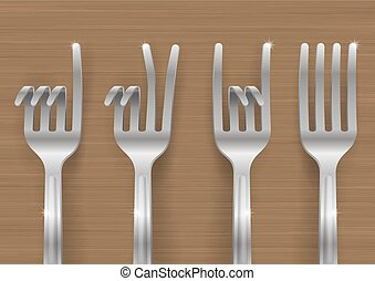 Set of forks bent in the form of gestures
