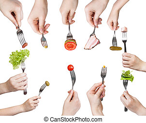 set of forks in hands with different snacks
