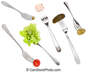 set of forks with different snacks isolated