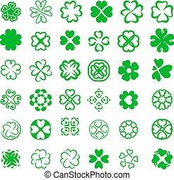 Set of fortune four leaf clovers vector illustration