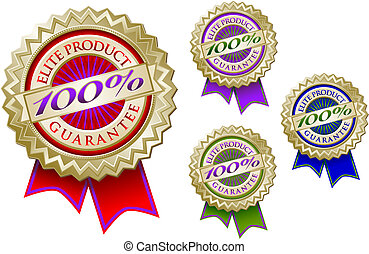 Set of Four 100% Elite Product Guarantee Emblem Seals - Set...