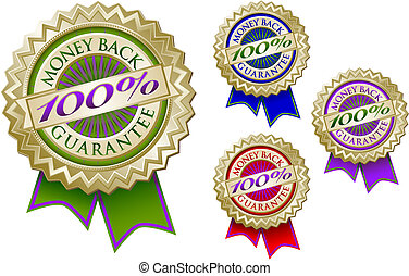 Set of Four 100% Money Back Guarantee Emblem Seals - Set of ...