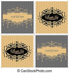 Set of four (4) vintage labels with ornate elegant abstract...