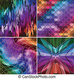 Set of four abstract background with geometric shapes....