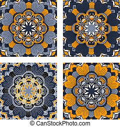 Set of four abstract circular floral pattern