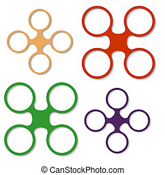 set of four abstract colored object
