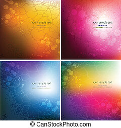 Set of four abstract colorful background
