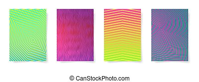 set of four abstract geometric pattern A4 format in bright color