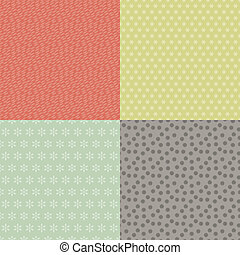 Set of four abstract retro seamless patterns.