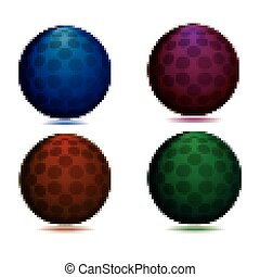 Set of four abstract spheres