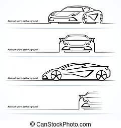 Set of four abstract sports car silhouettes. Vector...