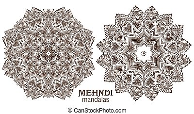 Set of four abstract vector round lace design mandalas