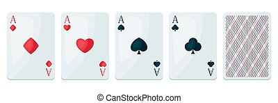 Set of four aces playing cards suit.
