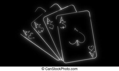 Set of four aces playing cards suits. Winning poker hand....
