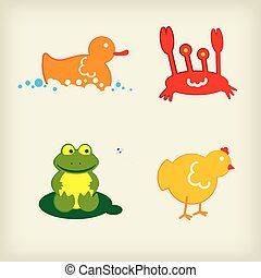 Set of four animal illustration. Duck, crap, frog, chicken.