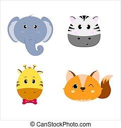 Set of four animals heads