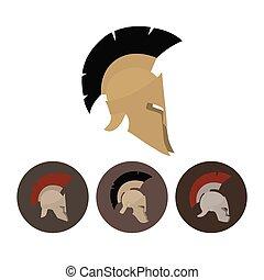 Set of four antique helmets - Colored antique Roman or Greek...