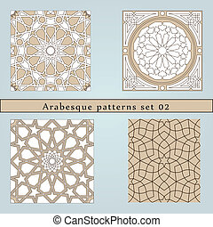 Set of four arabesque seamless pattern