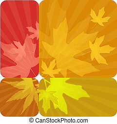 set of four autumn labels