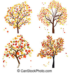 Set of four autumn tree