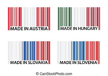 Set of four bar code symbols Made in Austria, Made in Hungary, Made in Slovakia and Made in Slovenia, simple icons, Austrian flag, Hungarian flag, Slovak flag and Slovenian flag isolated on a white background