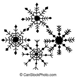 Set of four black and white snowflakes in Scandinavian style hand-drawn on a white background. Vector.