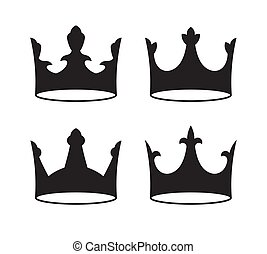 Set of four black crowns for heraldry design on white background.