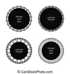 Set of four black frame isolated on white