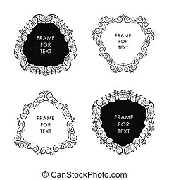 Set of four black frame isolated on white