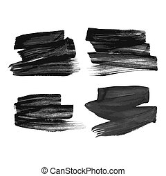 Set of four black hand drawn ink stains