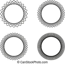 Set of four black line spirograph abstract elements