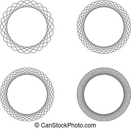 Set of four black line spirograph abstract elements with