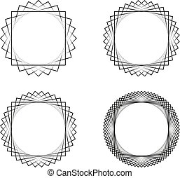 Set of four black line spirograph abstract elements with color transition
