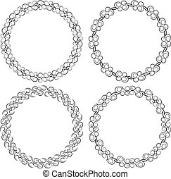 Set of four black round frames for your design