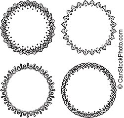 Set of four black round frames on a white background.