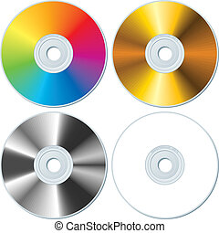 Set of Rainbow, Gold, Silver and White blank CDs. Vector Illustration