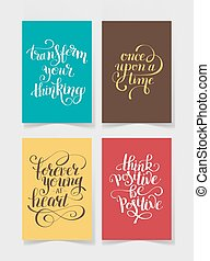 set of four bright colors handwritten lettering positive quotes