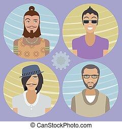 Set of four cartoon avatars - men 01