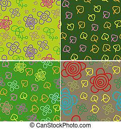 Set of four cartoon patterns