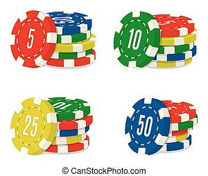 Set of four casino chips stacks with different value. Heaps of gambling house coins.