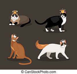 Set of four cats wearing crowns