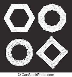 Set of four chalk textured frames.